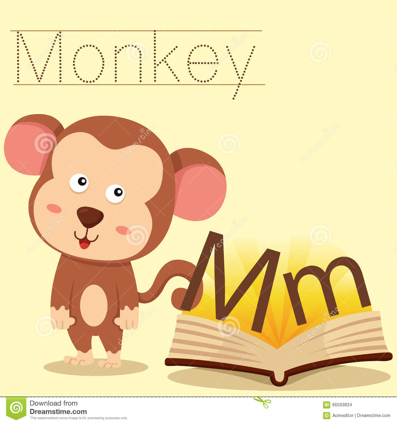 Illustrator Of M For Monkey Vocabulary Stock Vector