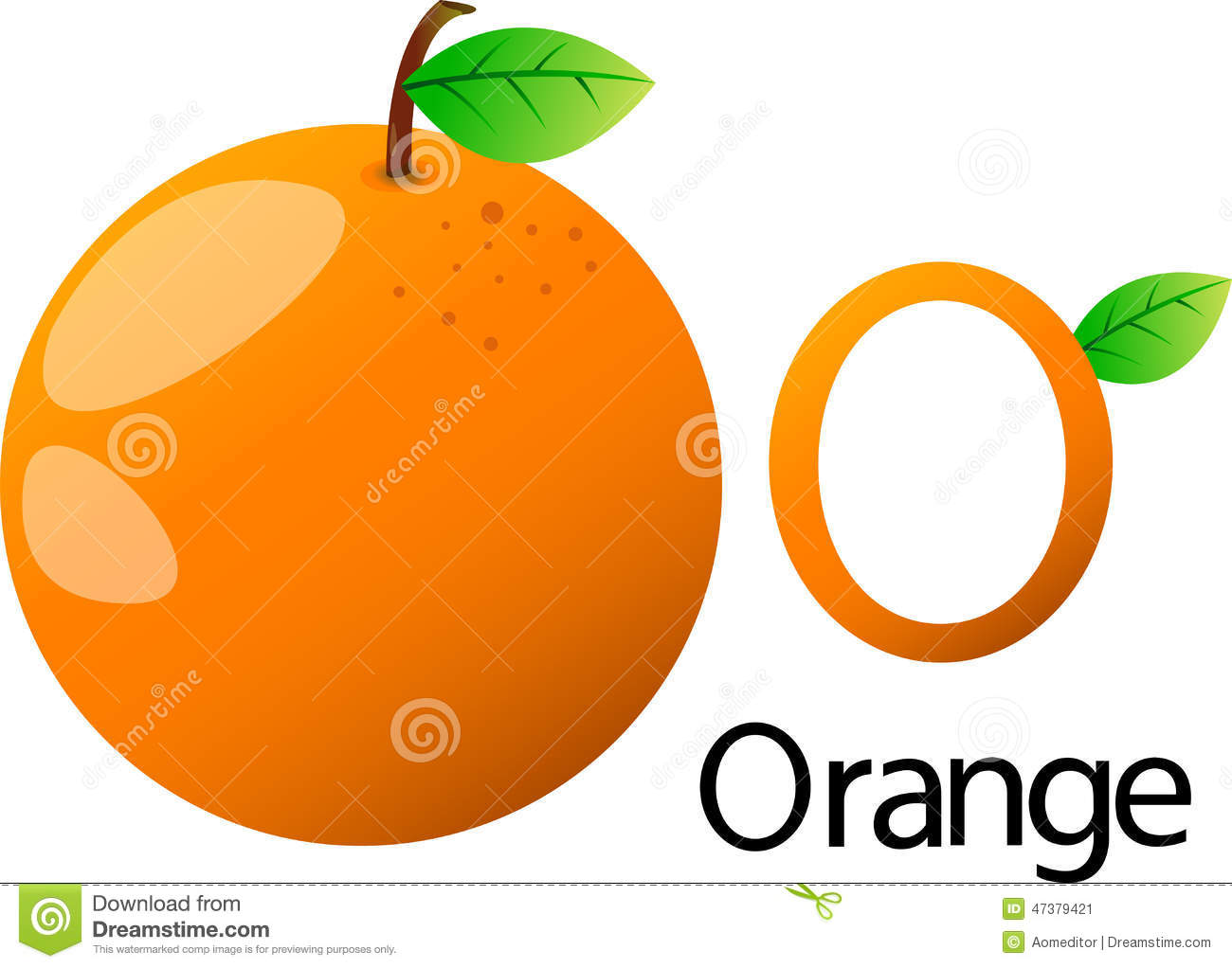 Illustrator O Font With Orange Stock Vector