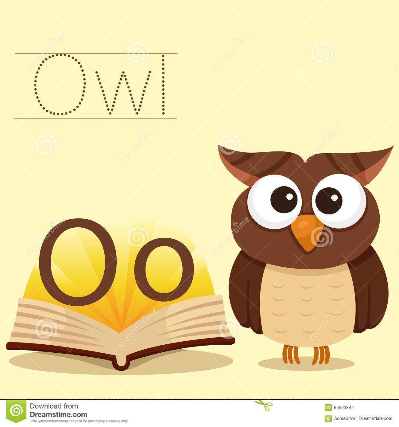 Illustrator Of O For Owl Bee Vocabulary Stock Vector
