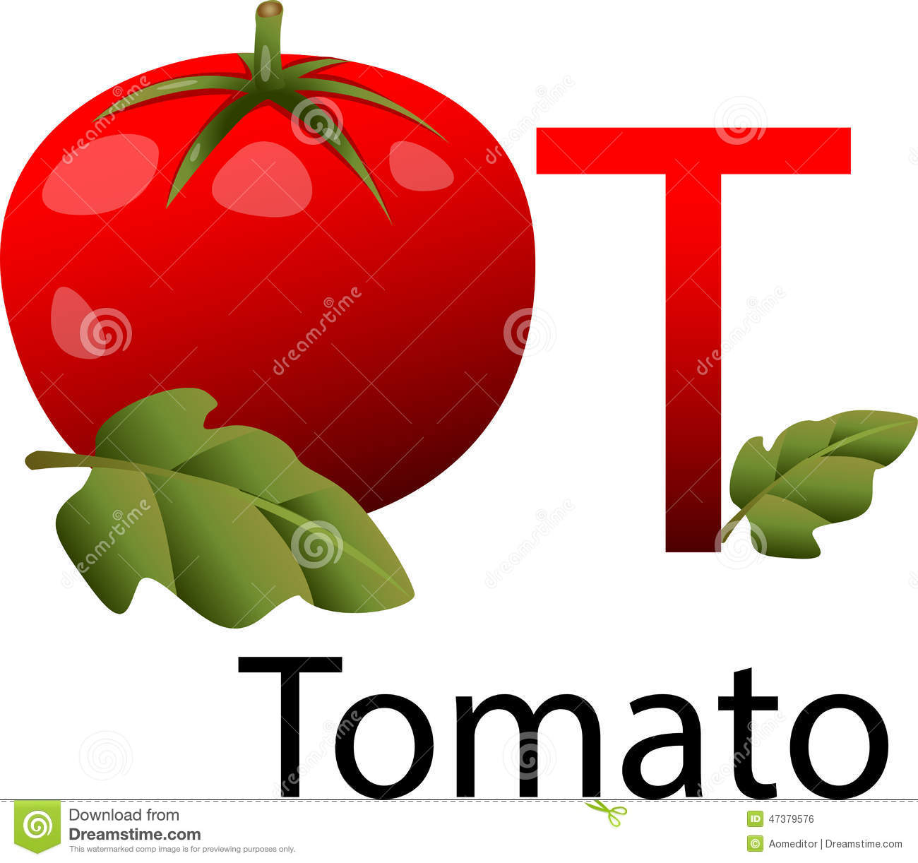 Illustrator T Font With Tomato Stock Vector