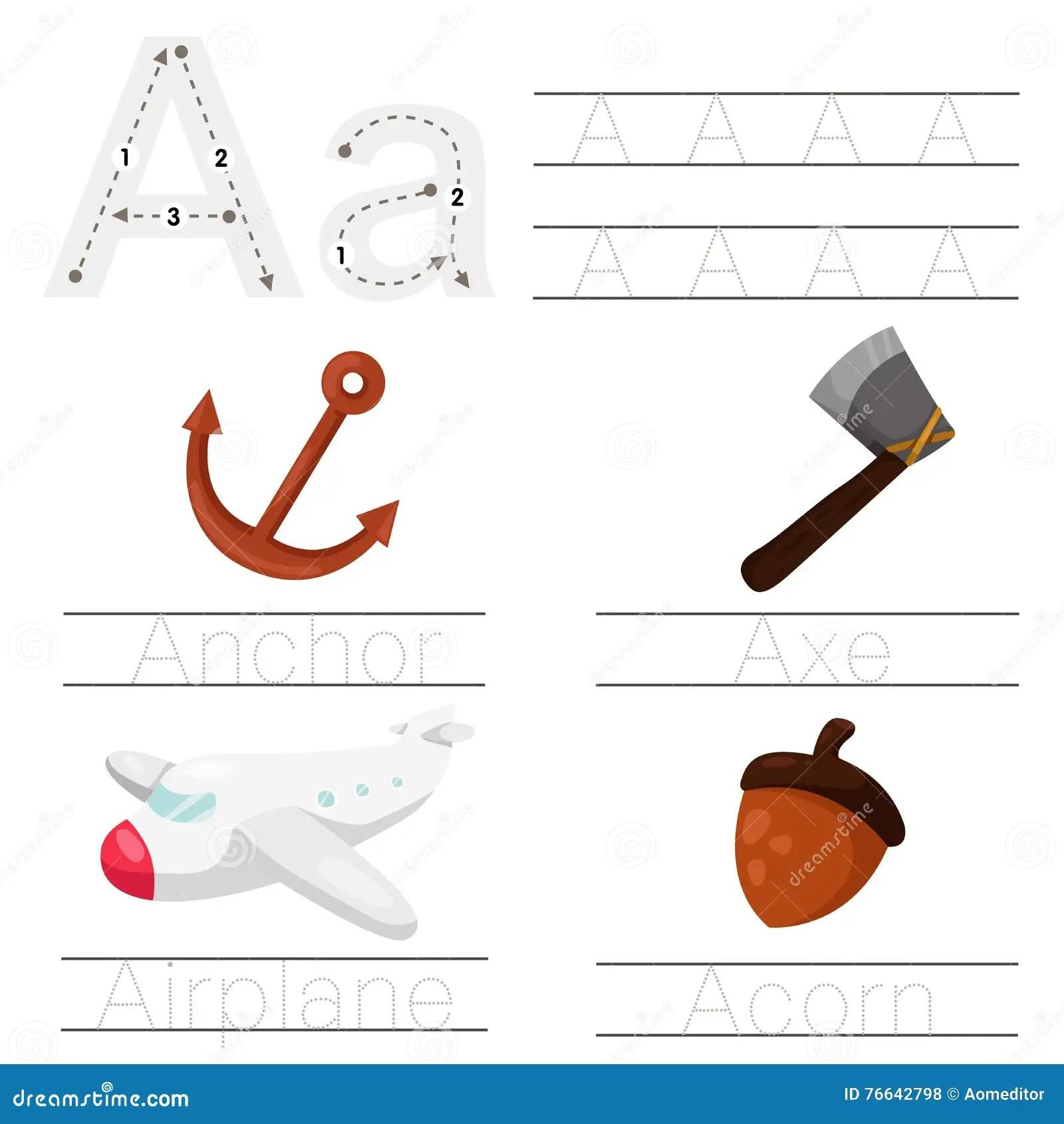 Illustrator Of Worksheet For Children A Font Stock Vector