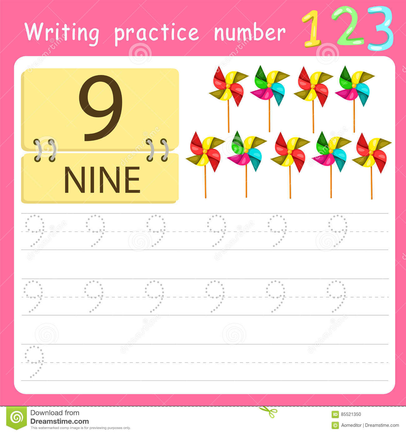 Illustrator Write Practice Number 9 Stock Vector