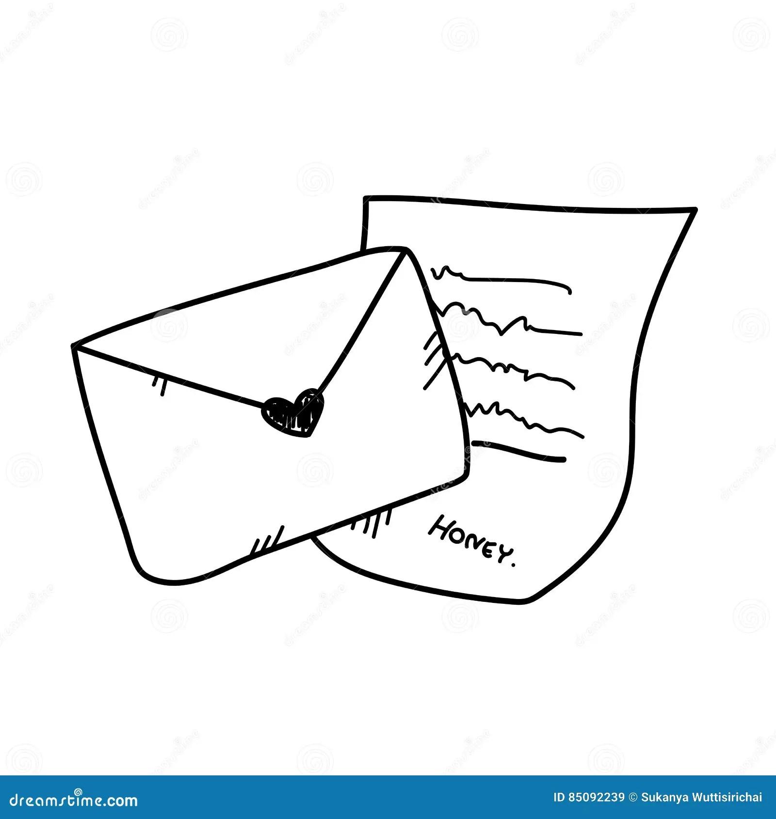 Illustrazione Della Lettera Di Amore Del Disegno A Mano