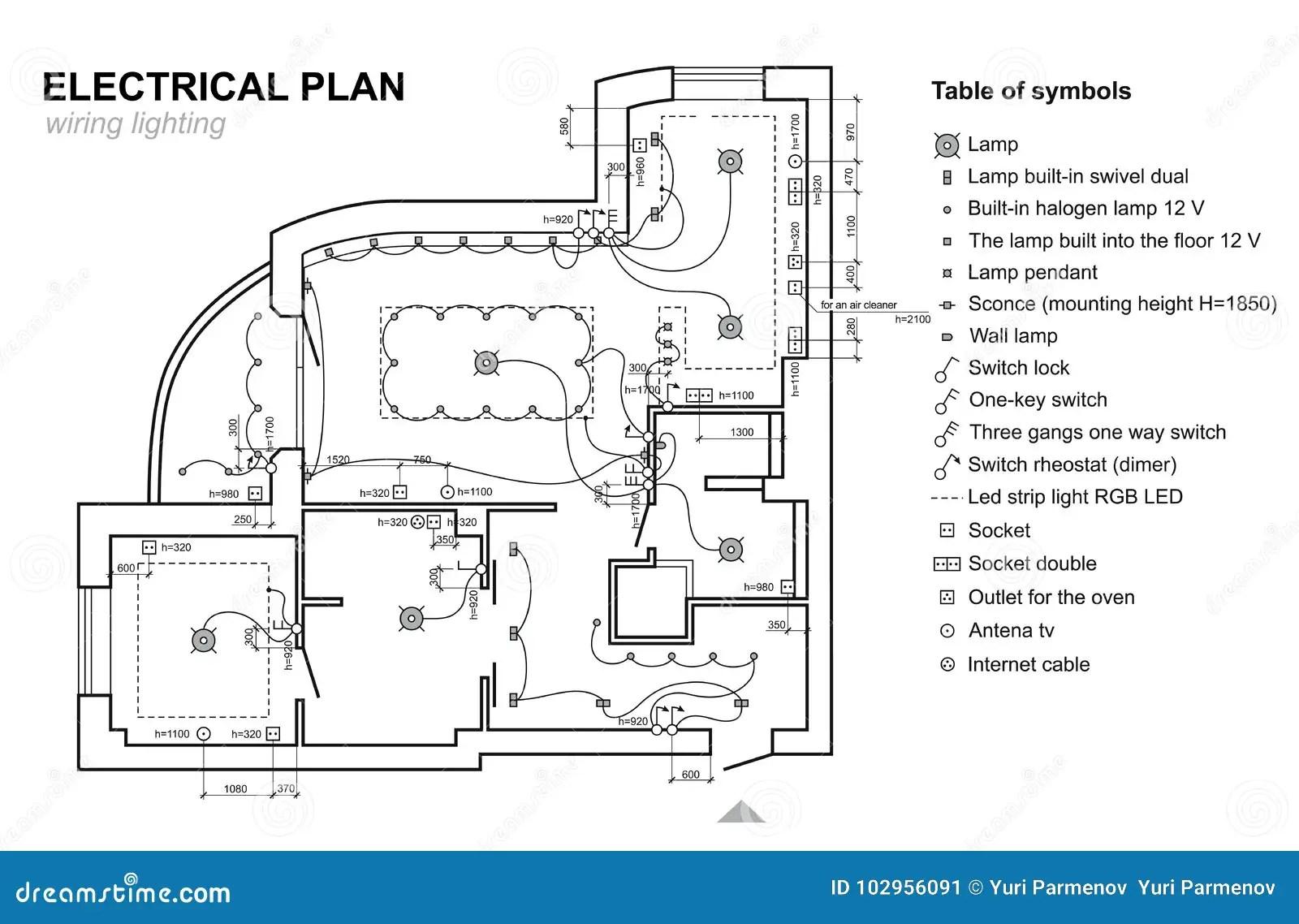 Iluminacao Da Fiacao Do Plano Interior Do Diagrama