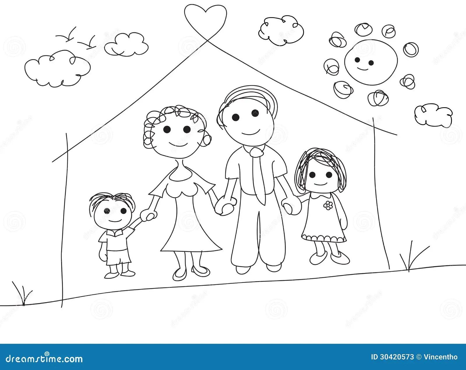 Ilustracao Do Desenho Do Garrancho Do Retrato Da Familia