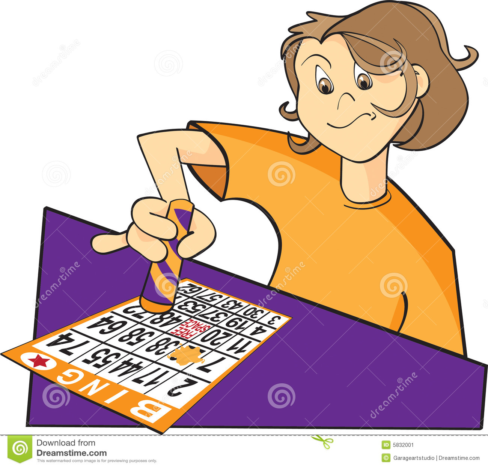 Ilustracion Del Jugador Del Bingo Ilustracion Del Vector