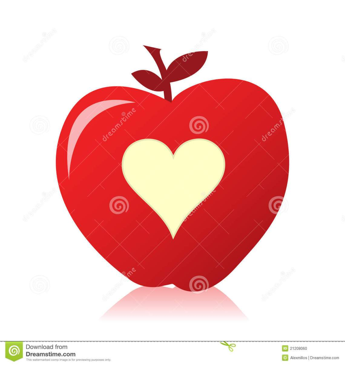 Download Image Of A Beautiful Red Apple With A Heart Stock Vector ...