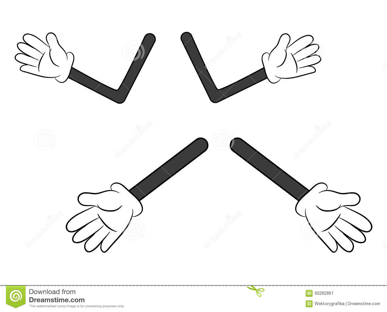 Image Of Cartoon Human Gloves Hand With Arm Gesture Set