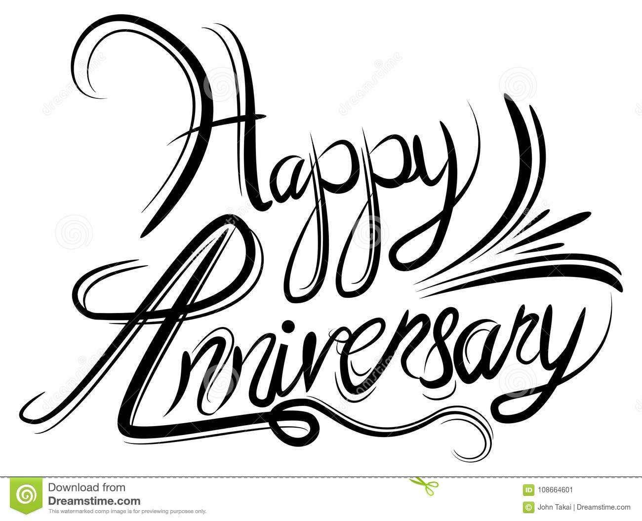 Happy Anniversary Elegant Black White Calligraphy
