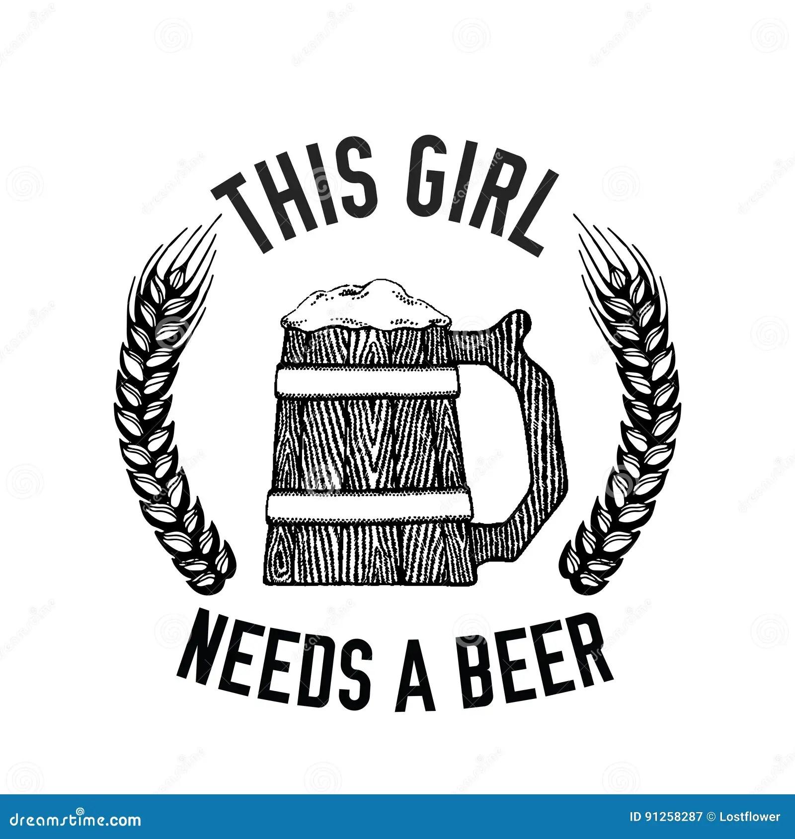 Imagen Dibujada Mano Del Vector De La Cita De La Cerveza