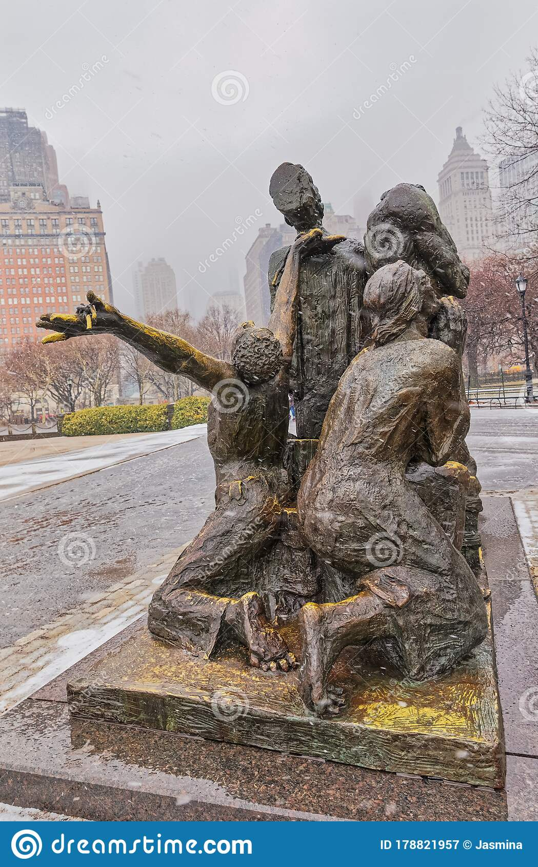The Immigrants Sculpture New York Editorial Photography