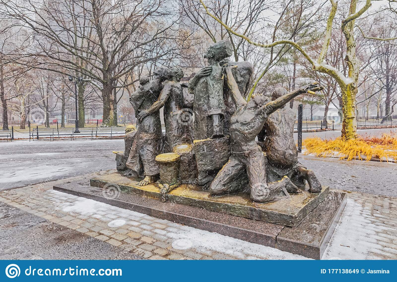 The Immigrants Sculpture New York Editorial Stock Image