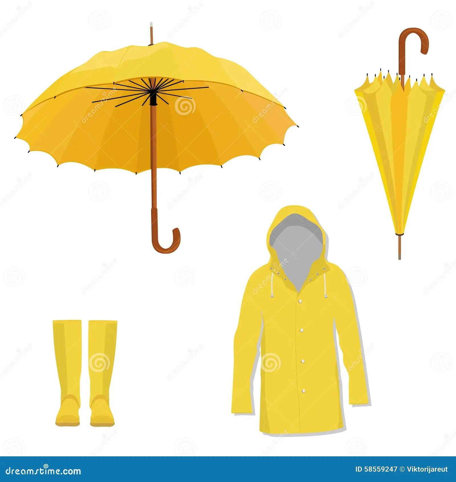 Impermeable Bottes Parapluie Illustration Stock