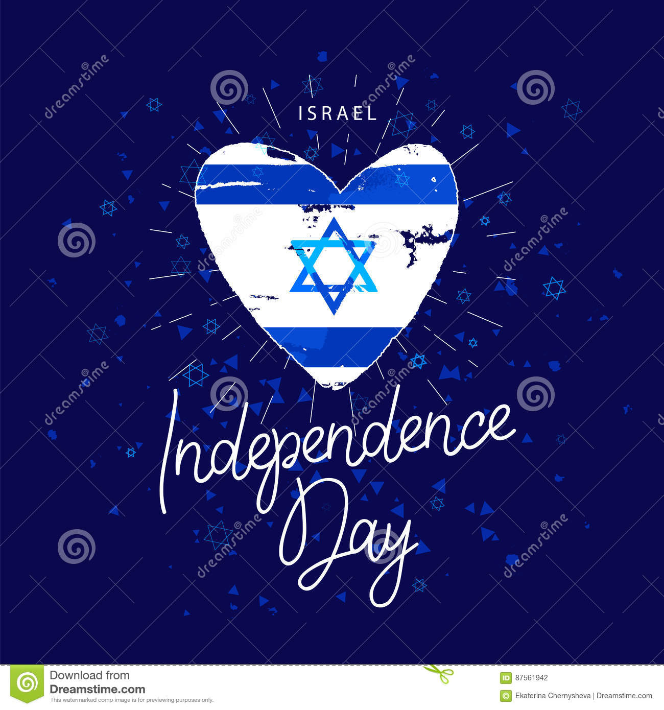 Independence Day Israel Flag In The Shape Of Heart Stock