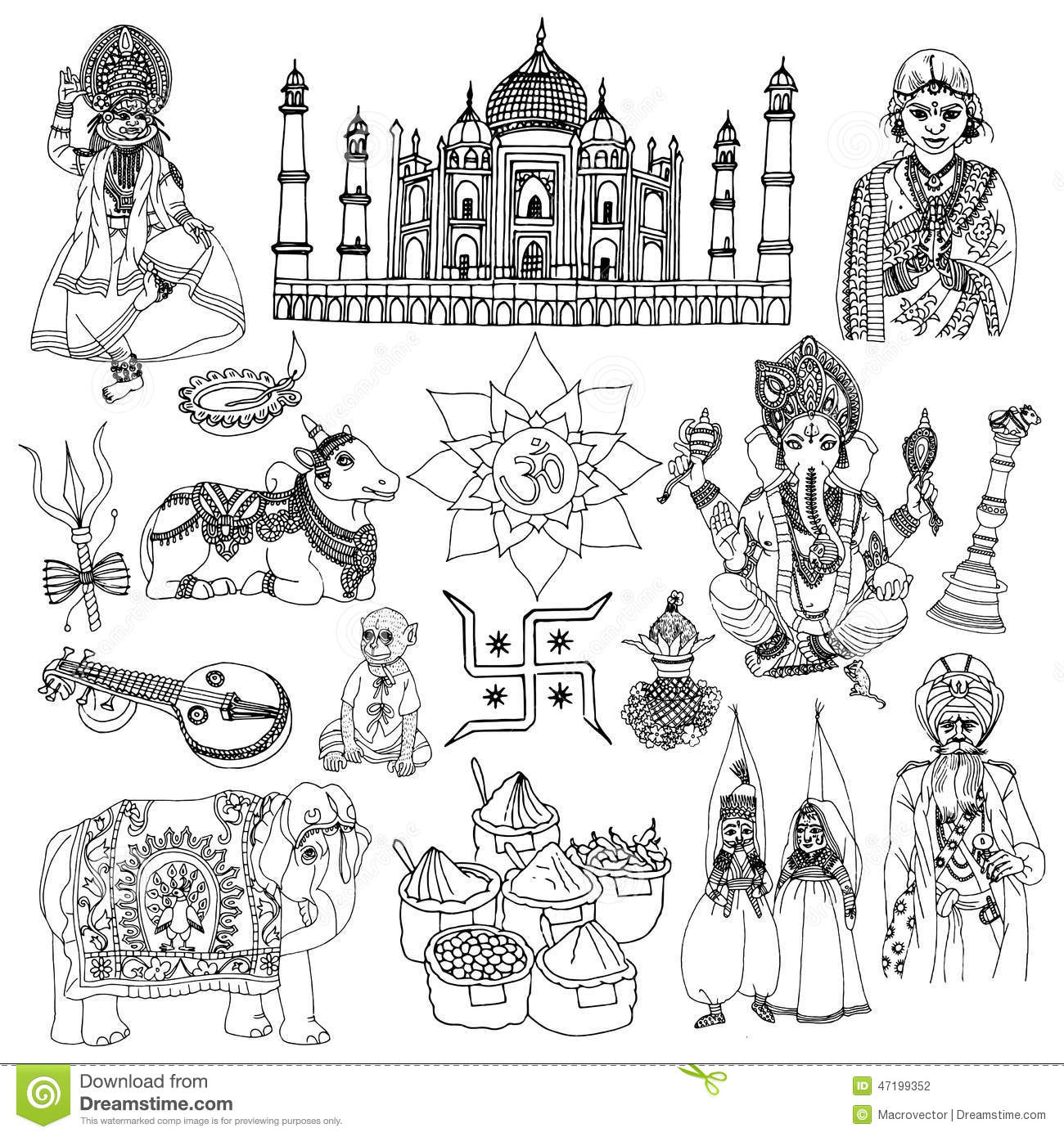 India Sketch Set Stock Vector Illustration Of Elements