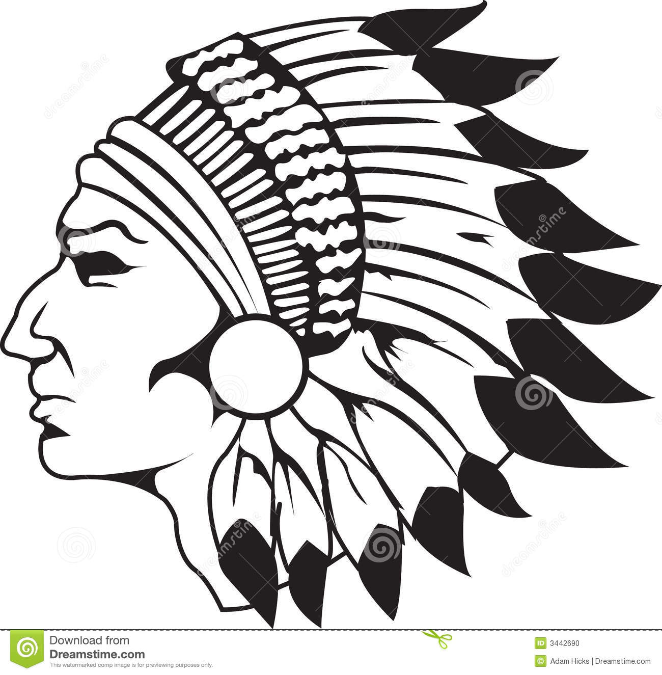 Indian Chief Black And White Stock Vector