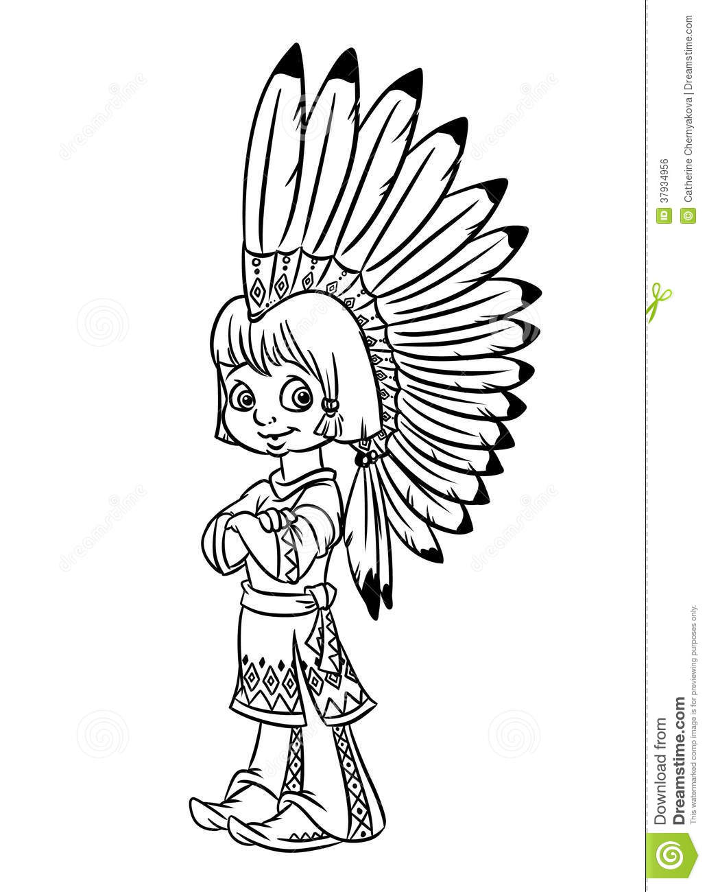 Indian Chief Boy Illustration Coloring Pages Royalty Free