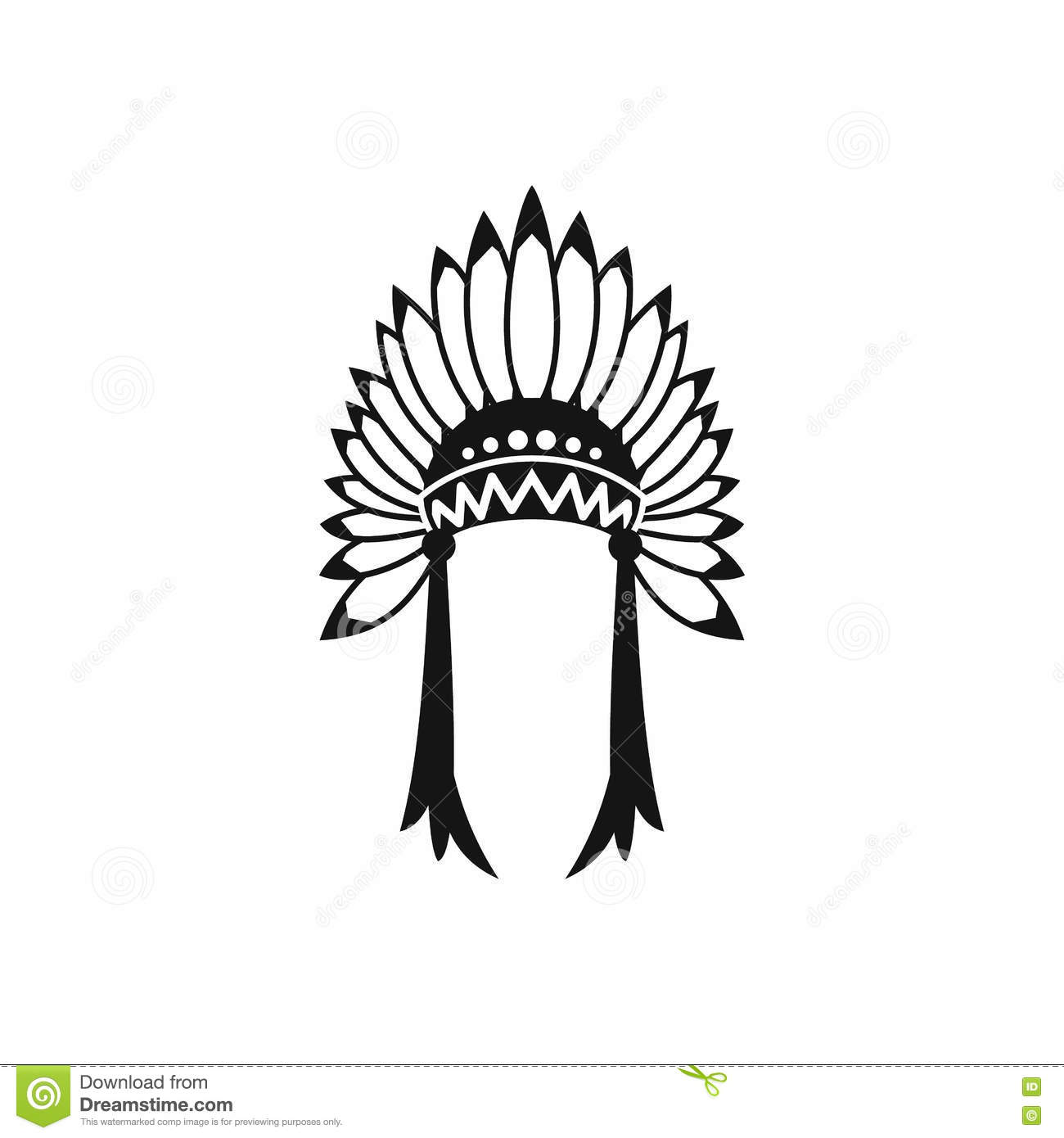 Indian Headdress Icon Simple Style Stock Vector