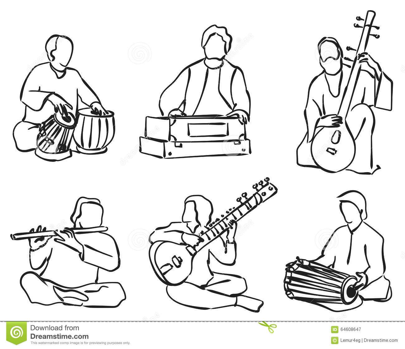 Indian Musician Set Stock Vector