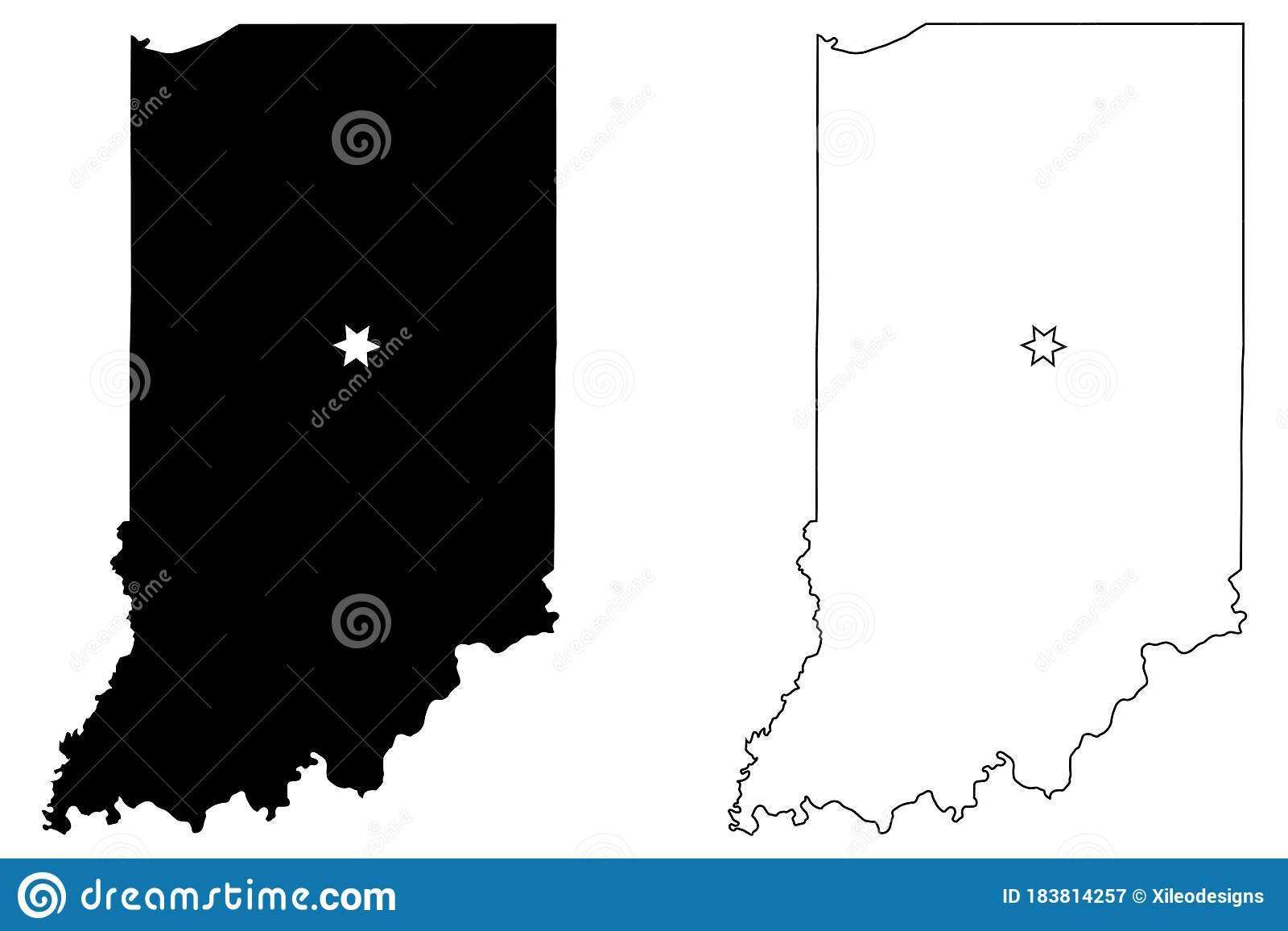 Indiana In State Maps Usa With Capital City Star At