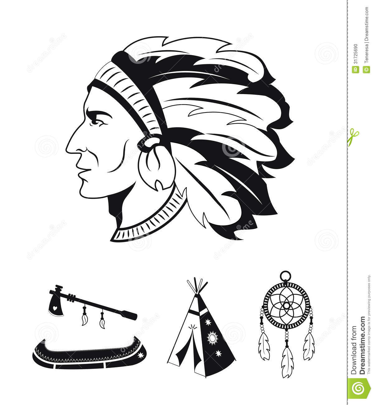 Indians Icons Set Stock Vector Illustration Of Headdress