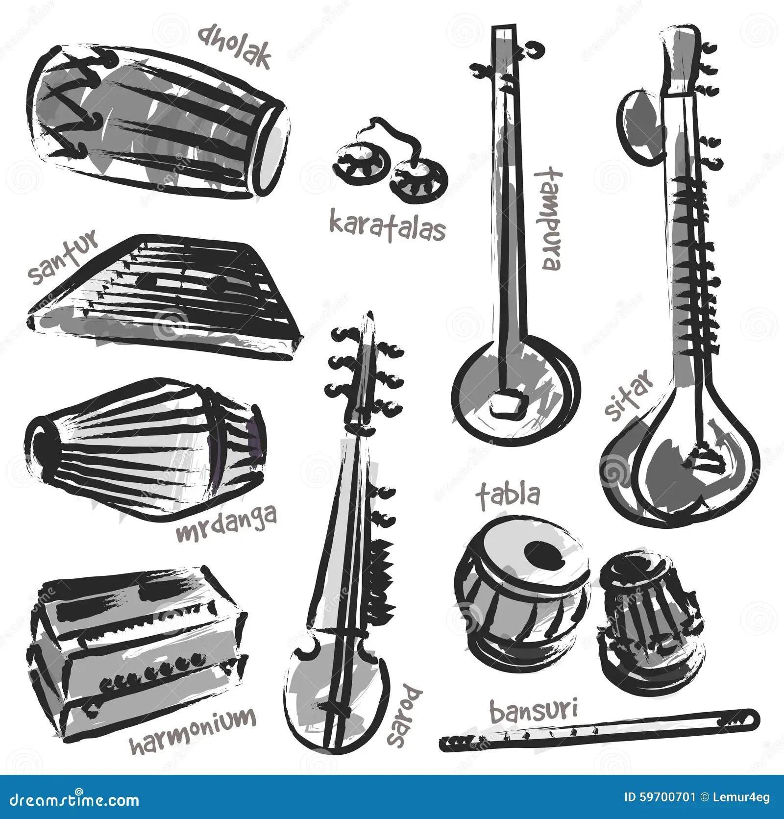 Indische Instrumente Vektor Abbildung Illustration Von