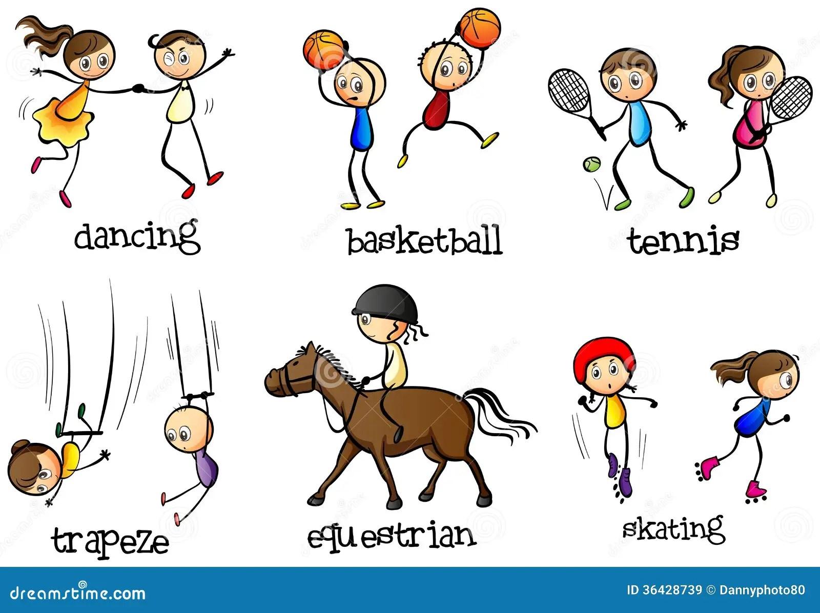 Indoor And Outdoor Activities Stock Illustration