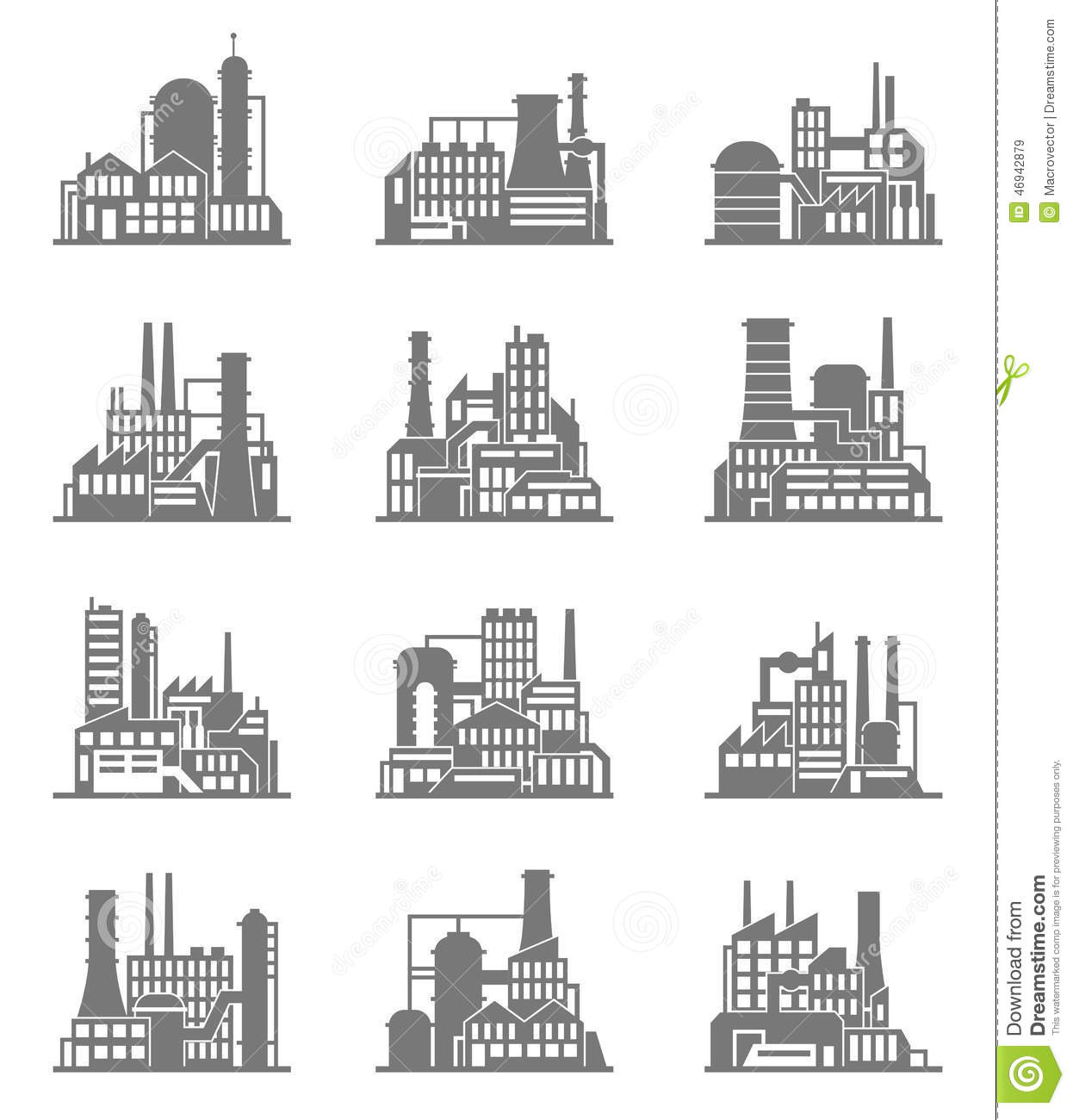 Industrial Building Icons Set Stock Vector