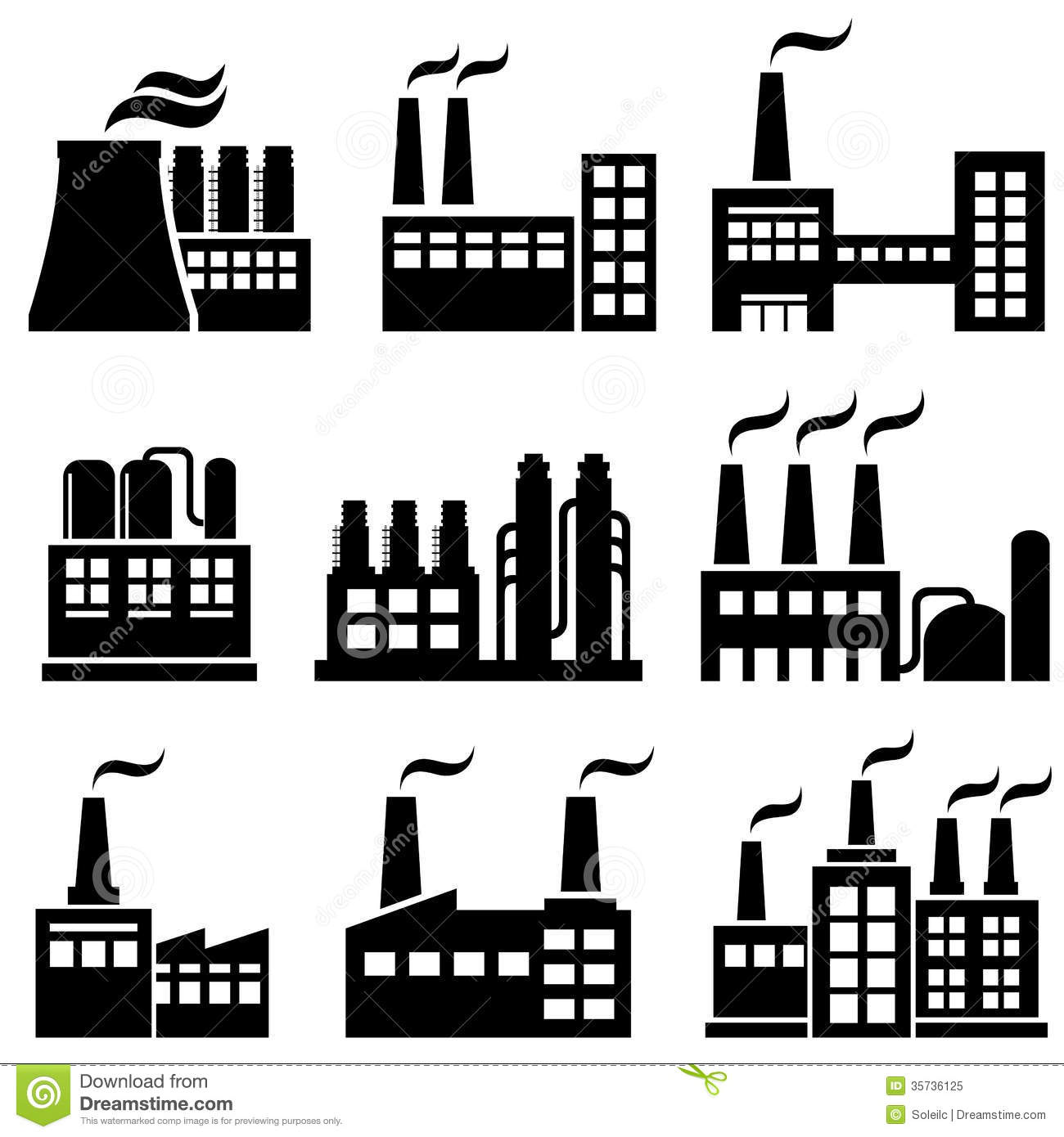 Industrial Buildings Factories Power Plants Royalty Free