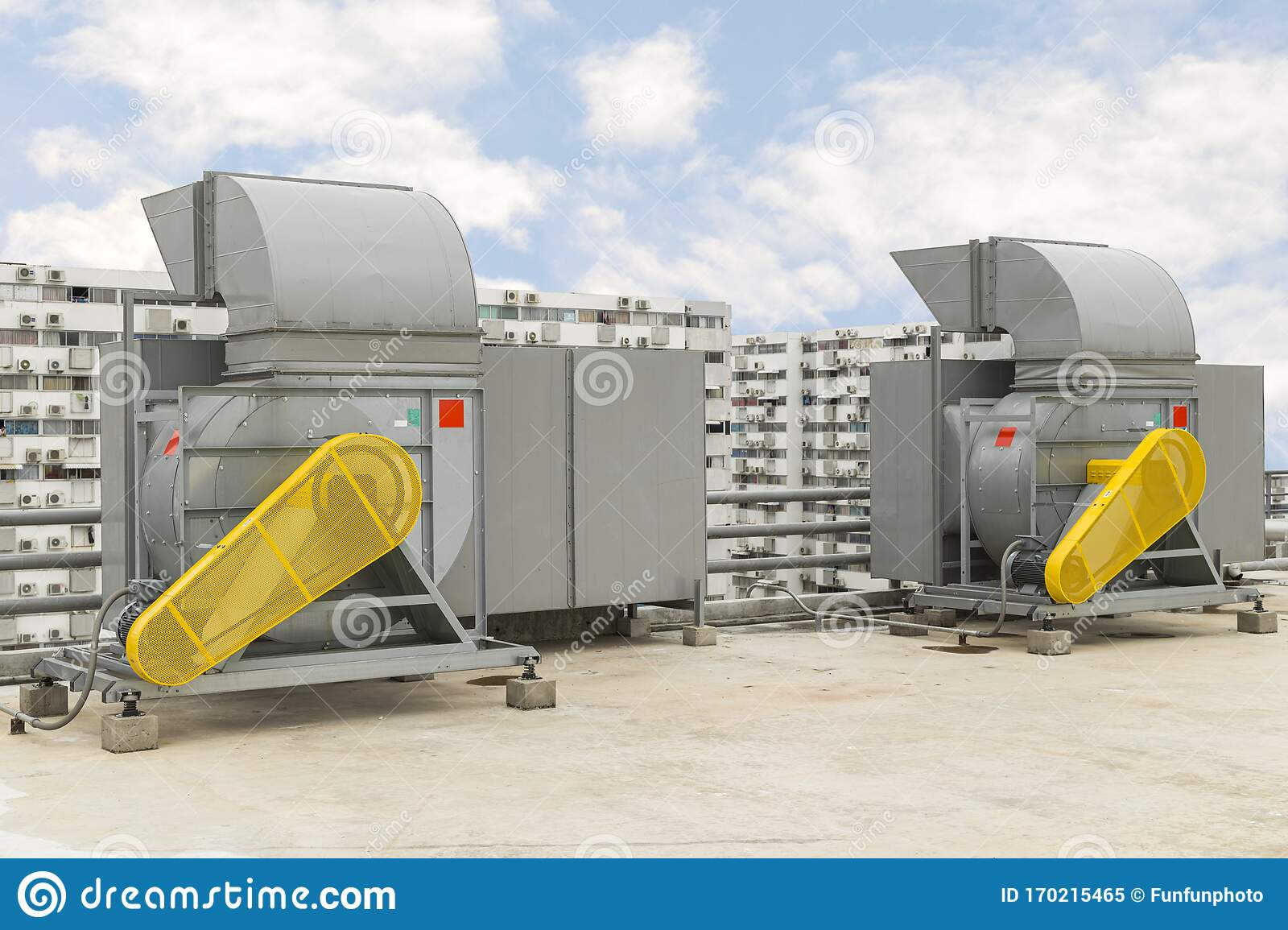 https www dreamstime com industrial centrifugal fan exhaust vents air conditioning ventilation systems skyscraper roof top high building image170215465
