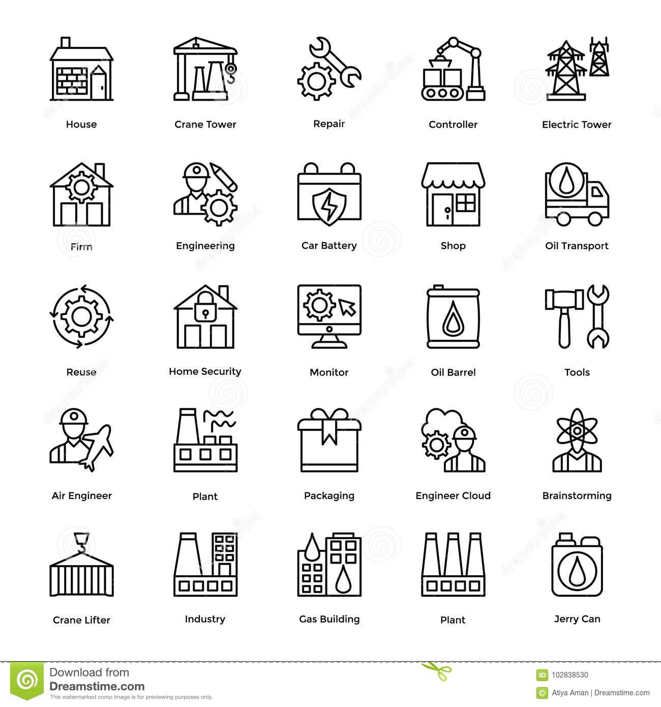 Industrial And Construction Line Vector Icons Set 6 Stock