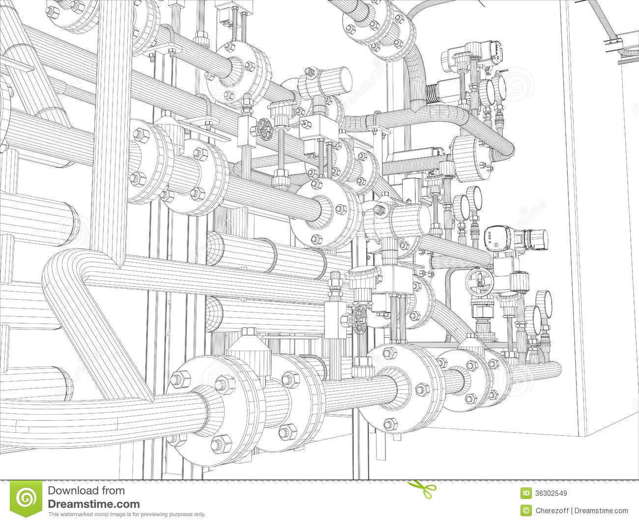 Industrial Equipment Wire Frame Render Royalty Free Stock