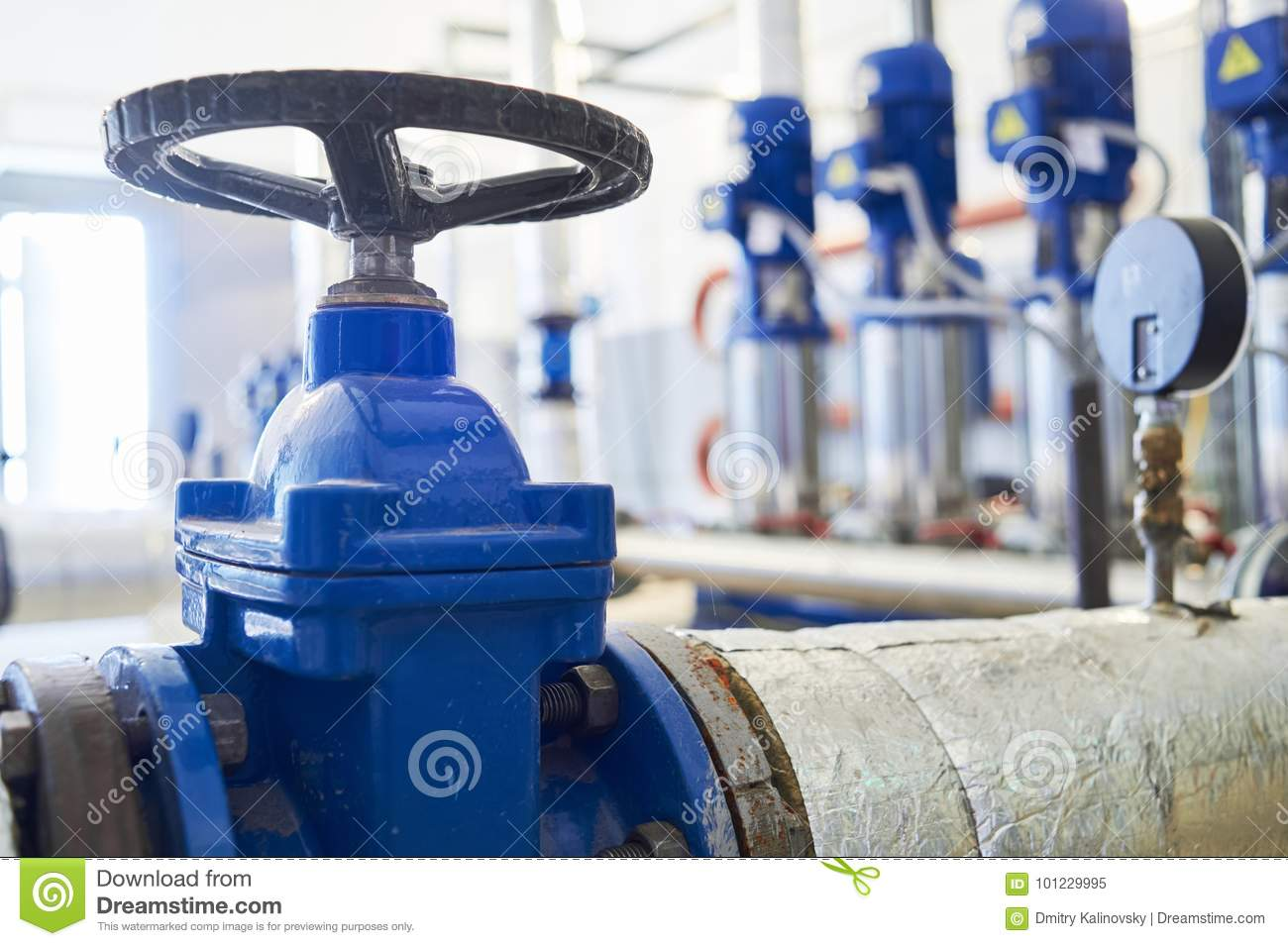 https www dreamstime com industrial water pumping system valve insulated pipe front water pump room water pumping station valve faucet pumps image101229995