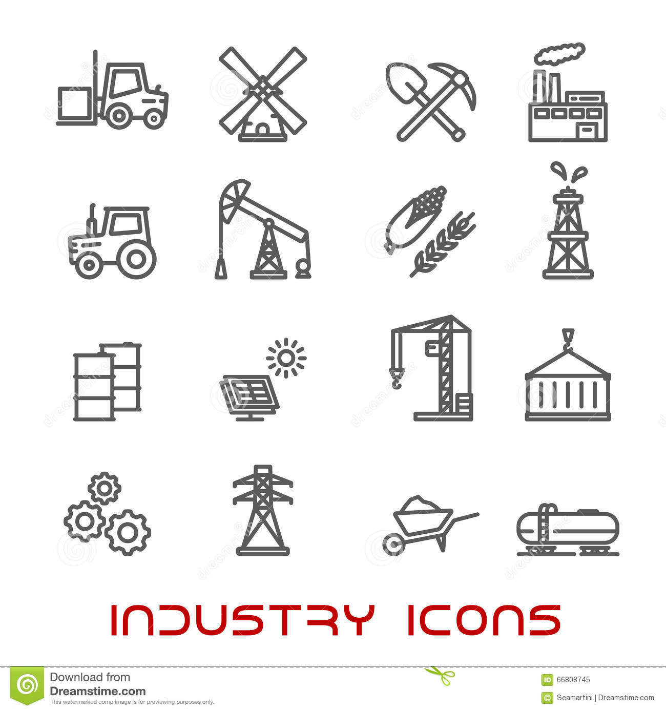 Industry And Ecology Thin Line Icons Stock Vector