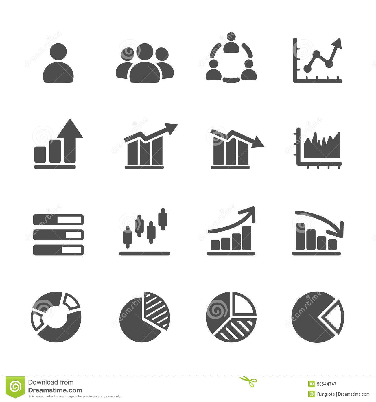 Infographic And Chart Icon Set Vector Eps10 Stock Vector