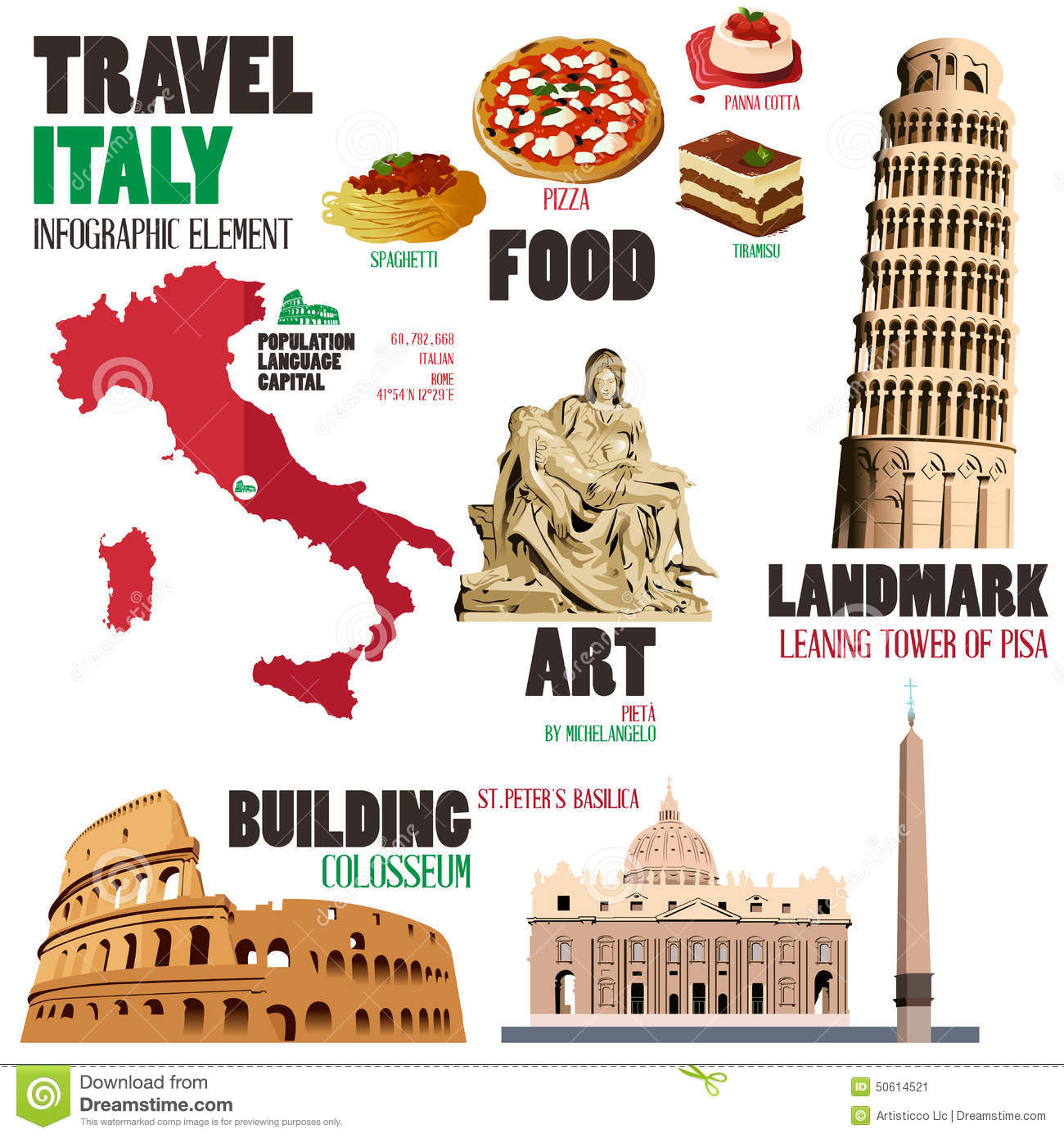 Infographic Elements For Traveling To Italy Stock Vector