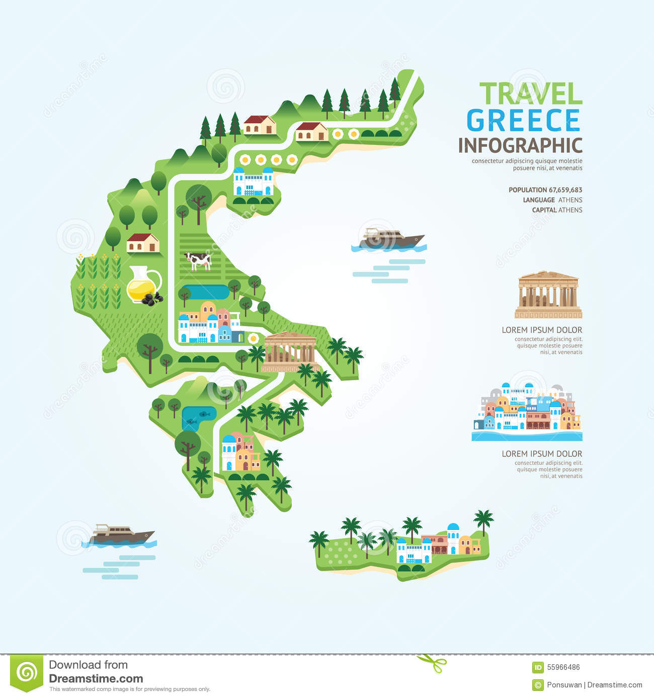 Infographic Travel And Landmark Greece Map Shape Template