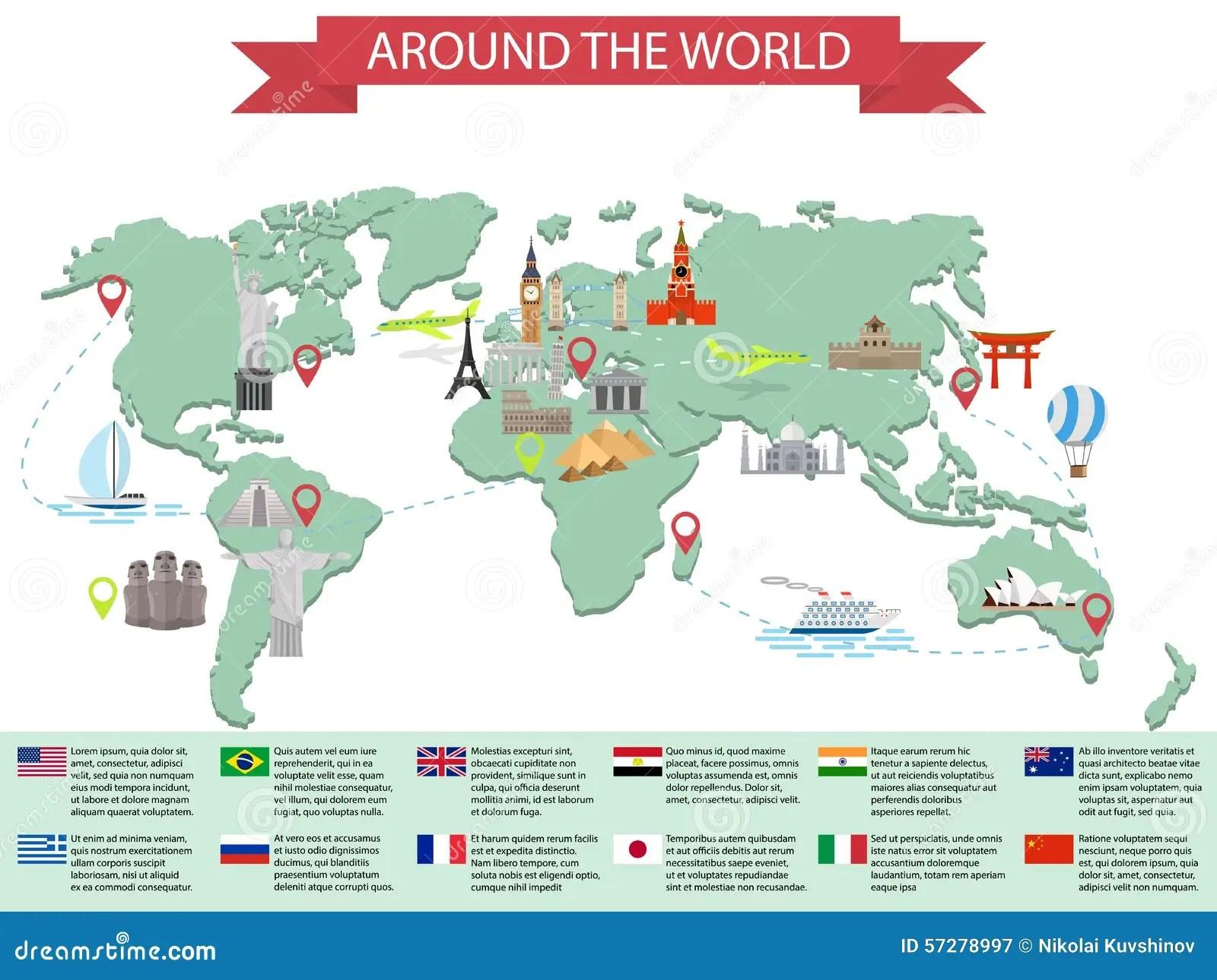 Infographic Weltmarksteine Auf Karte Vektor Abbildung
