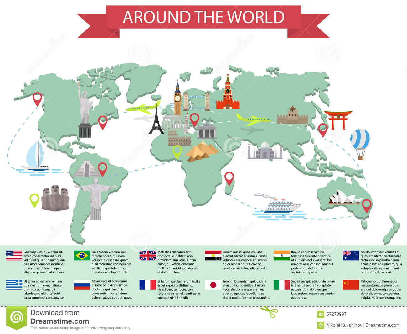 Infographic World Landmarks On Map Stock Vector