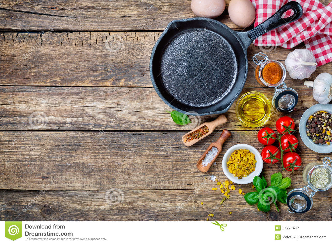 Ingre Nts For Cooking And Cast Iron Skillet Stock Photo