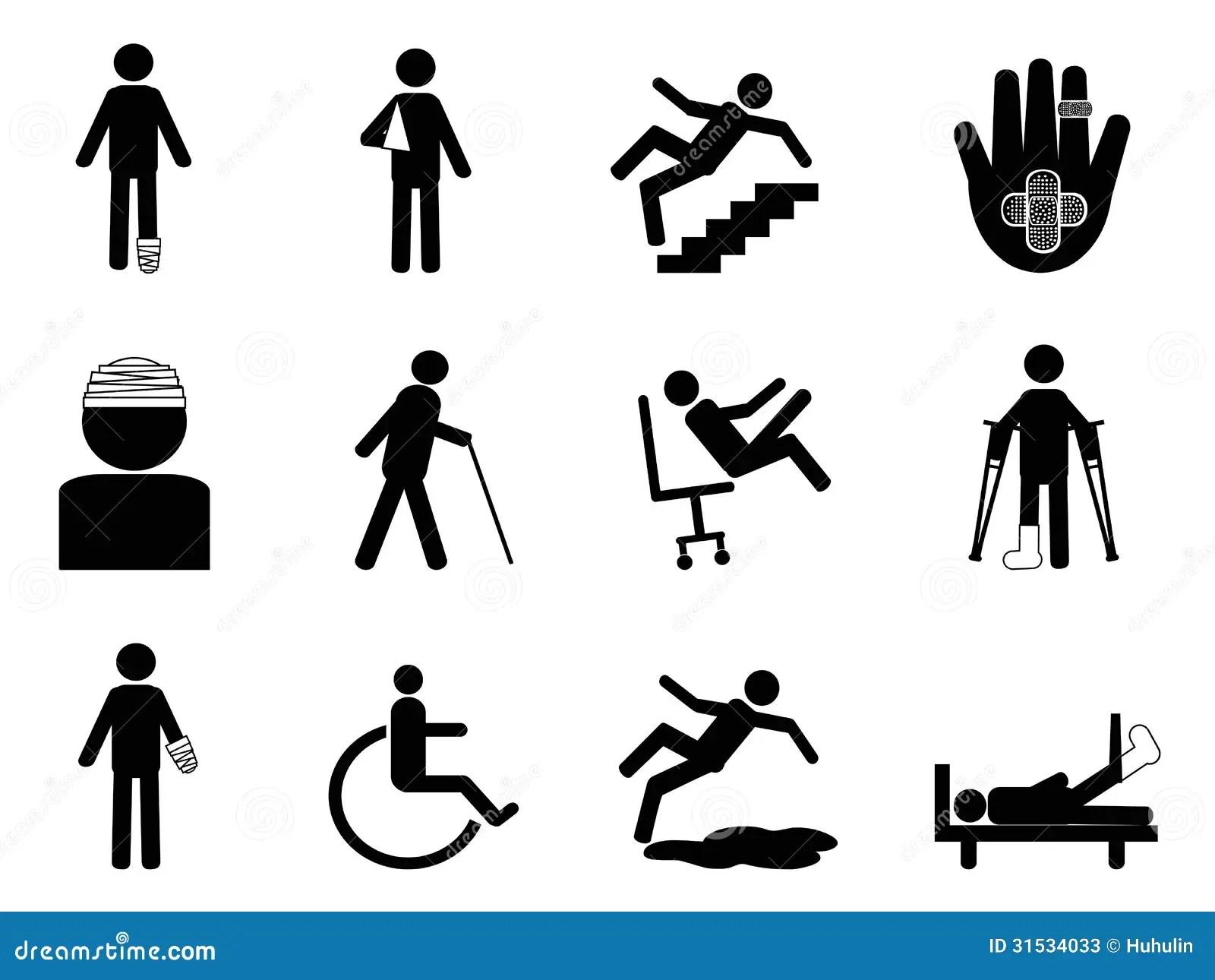 Injury Icons Set Stock Vector Image Of Disable Bandage