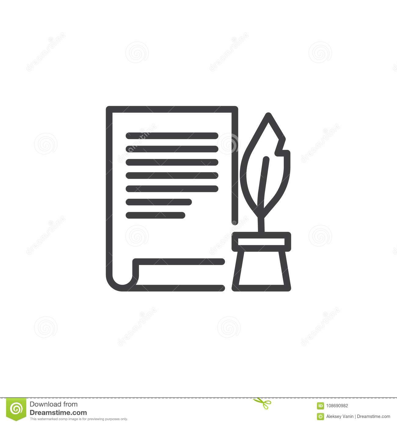 Ink Feather Pen And Scroll Paper Line Icon Stock Vector