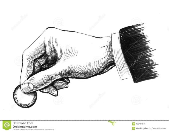 Hand With Acoin Stock Illustration Illustration Of White 100164575