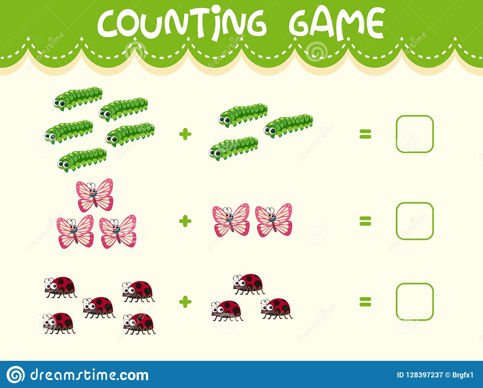 Insect Math Counting Worksheet Stock Vector