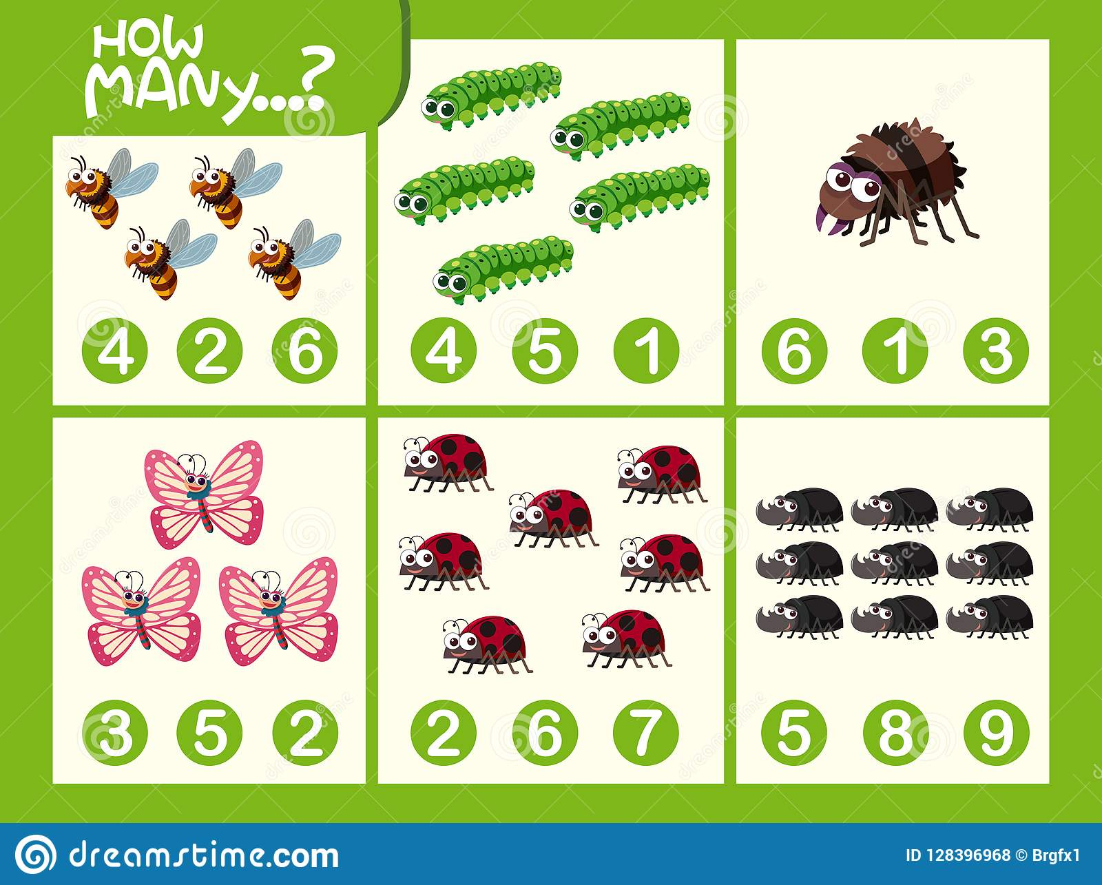 Insect Math Number Worksheet Stock Vector