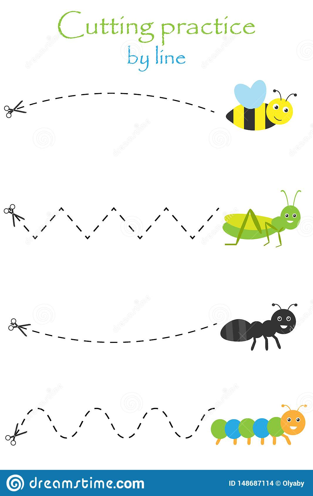Insects In Cartoon Style Education Cut Game For The