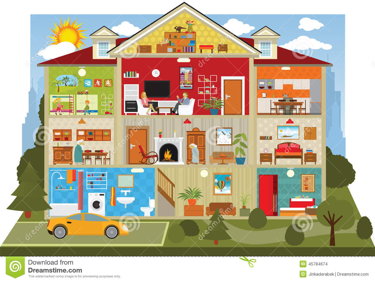 Inside The House Stock Vector Illustration Of Event
