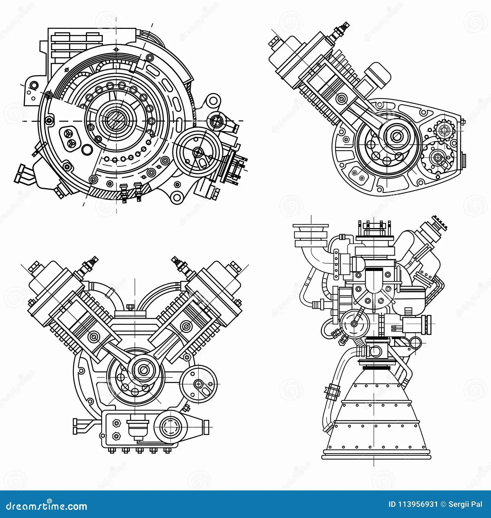 Insieme Dei Disegni Dei Motori