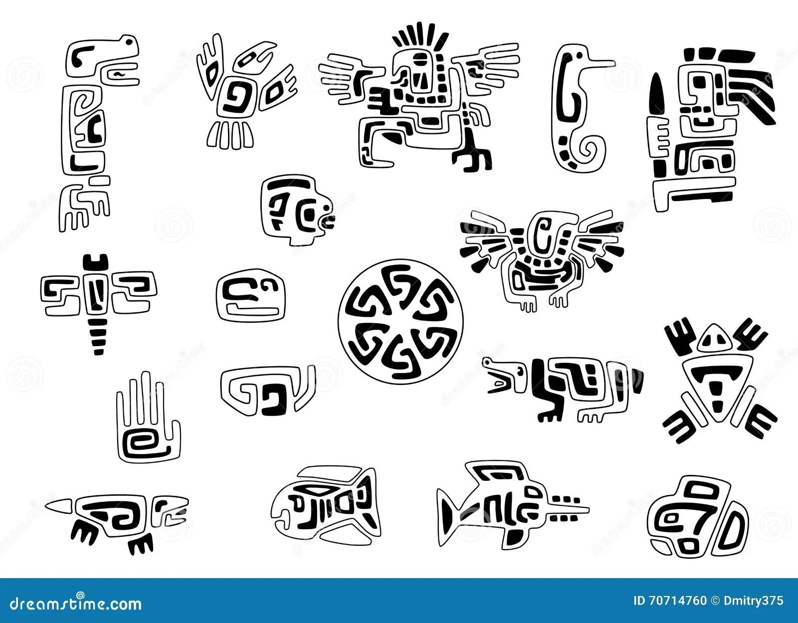 Insieme Dei Simboli Stilizzati Del Nativo Americano