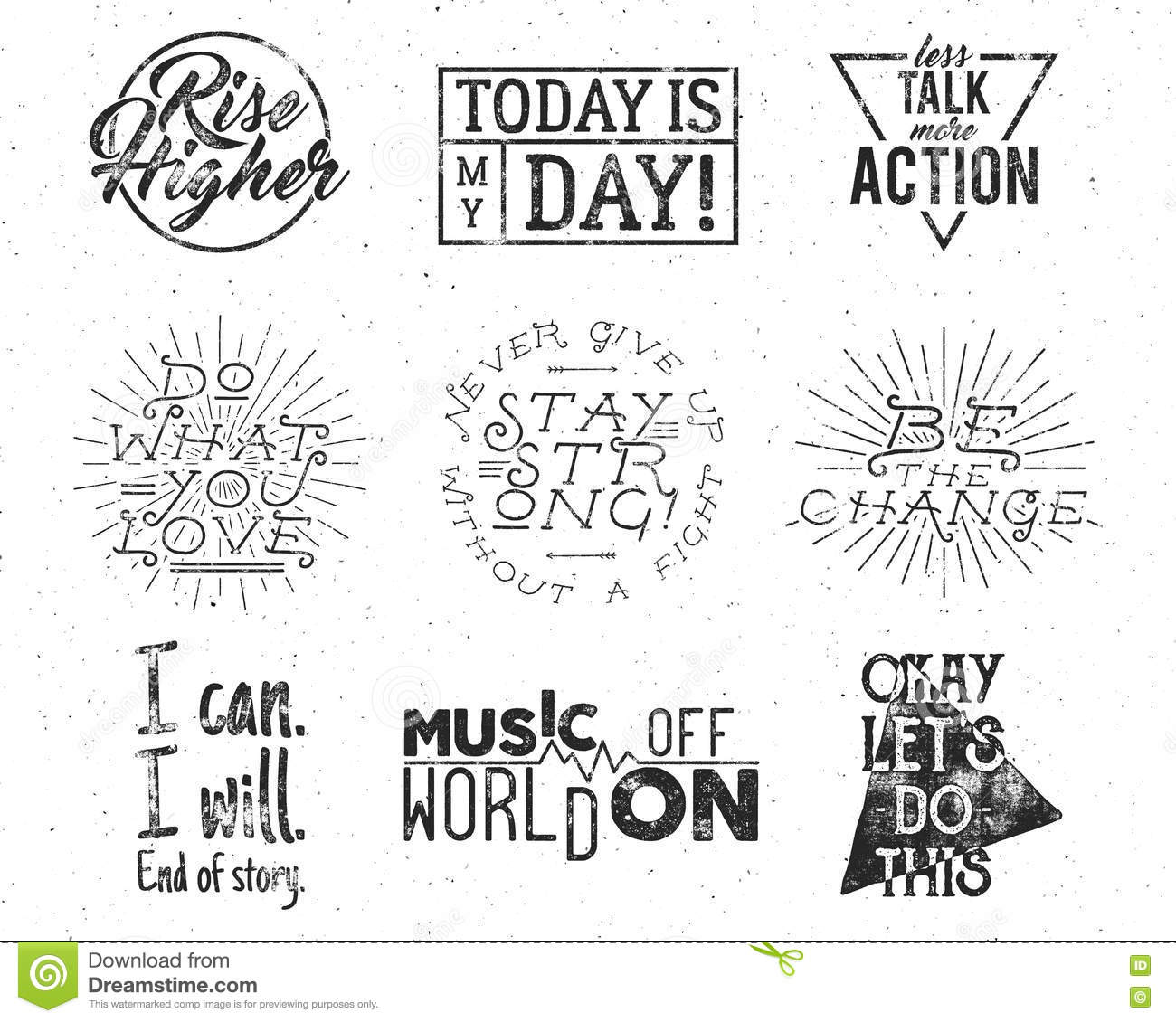 Inspirational Typography Life Style Quotes Set Motivation